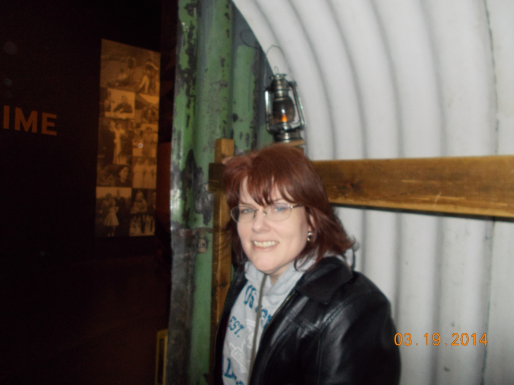 Me in an Anderson shelter in the Imperial War Museum.